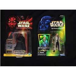 STAR WARS ACTION FIGURE LOT (IN BOXES) DARTH MAUL & HAN SOLO IN ENDOR GEAR