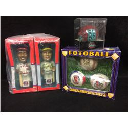 BOBBLE HEAD DOLLS & LIMITED EDITION COLLECTORS SET FOTOBALL LOT