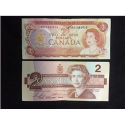 CANADIAN TWO DOLLAR BANK NOTE LOT (1974, 1986)
