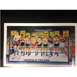 """LEGENDS OF THE RING"" AUTOGRAPHED 19"" X 32"" PRINT (WEPNER, FLOYD, PATTERSON, BASILIO, GRIFFITH) JSA"