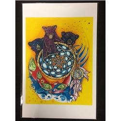 "2014 NATIVE ART PRINT SIGNED BY HUBERT BILLY 12"" X 18"""