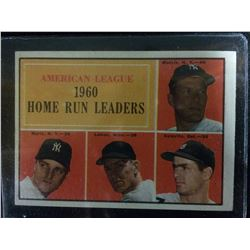 1961 Topps #44 American League (AL) 1960 Home run Leaders Mantle & Maris