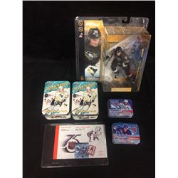 MARIO LEMIEUX (MCFARLANE) ACTION FIGURE & TRADING CARDS LOT & MORE