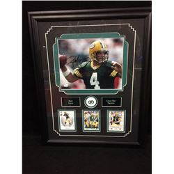 "BRETT FAVRE AUTOGRAPHED 16"" X 20"" FRAMED PHOTO W/ CARDS DISPLAY (GREEN BAY PACKERS)"