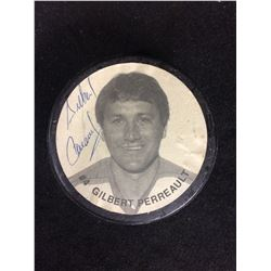 GILBERT PERREAULT AUTOGRAPHED HOCKEY PUCK