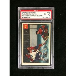 1954 PARKHURST #98 PLANTE PROTECTS AGAINST SLIPPERY SLOAN (EX-MT 6) PSA