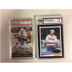 2005-06 UD SIDNEY CROSBY ROOKIE (GEM MINT 10) & 1980-81 TOPPS #195 MIKE GARTNER ROOKIE (9 MINT)