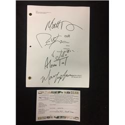 "CULT ""YOU'RE NEXT"" PILOT DRAFT AUTOGRAPHED BY ALOWA TAL, ROBERT KNEPPER, MATT DAVIS & AUGEROPOLIS"
