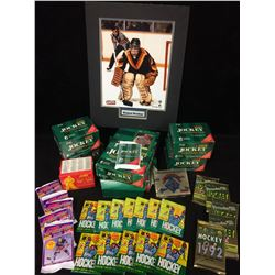 "SPORTS CARDS LOT W/ RICHARD BRODEUR 8"" X 10"" PHOTO"
