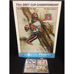 75TH GREY CUP CHAMPIONSHIP (1987) FOOTBALL POSTER W/ NFL CARDS LOT