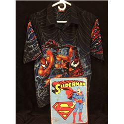 SPIDER-MAN SHIRT (XL) & SUPERMAN TIN SIGN