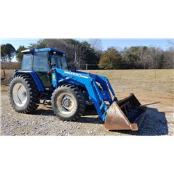7740 FORD TRACTOR W/ FORD 7411 LOADER AND BUCKET AND HAY SPEAR, HOURS SHOWING: 4138