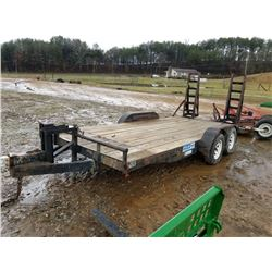 16' FLATBED TRAILER, BUMPER PULL, DUAL AXEL, WITH RAMPS