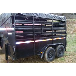1994 HURST 12' BLACK GOOSENECK CATTLE TRAILER VIN 1H9TE112XR1057049 BILL OF SALE ONLY