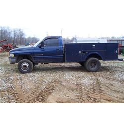 2002 DODGE RAM 3500 TRUCK, 2WD WITH TOOLBOX BED, MAGNUM V8, AUTOMATIC TRANS, VIN 3B6MC36512M308750 M