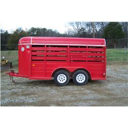 1991 14' WW RED BUMPER PULL STOCK TRAILER, VIN: 11WES1422NW183232