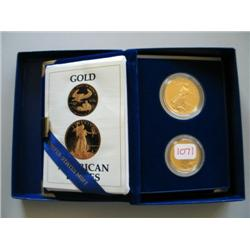 1987 1 OZ & 1/2 OZ GOLD PROOF SET