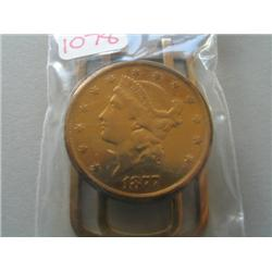 1877 $20 GOLD COIN BELT CLIP