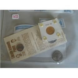 LOT, 1907 $5 GOLD PIECE, KENNEDY/LINCOLN PENNY W/CARD, (2) SUSAN B. ANTHONY DOLLARS