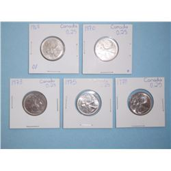 LOT OF 5 CANADIAN QUARTERS - 1968, 1970, 1973, 1975, 1978