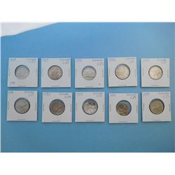 LOT OF 10 CANADIAN QUARTERS - 1968, 1969, 1970, 1972, 1973, 1974, 1975, 1977, 1978,  1979