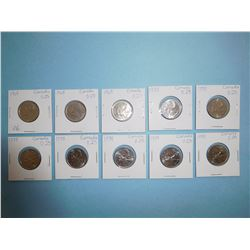 LOT OF 10 CANADIAN QUARTERS - 1968 x 3, 1978 x 7