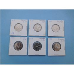 LOT OF 6 CANADIAN QUARTERS - 1968, 1970, 1973, 1975, 1977, 1978