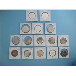 LOT OF 15 CANADIAN FIFTY CENT PIECES - 1962, 1963, 1964, 1965, 1969, 1970, 1971, 1972, 1973, 1974, 1