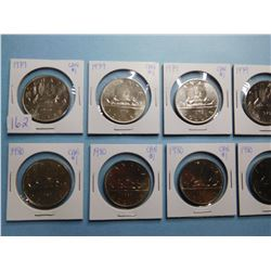 LOT OF 10 CANADA DOLLAR COINS 1979 x 5, 1980 x 5