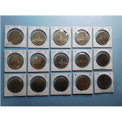 LOT OF 15 CANADA DOLLAR COINS 1979 x 8, 1980 x 7