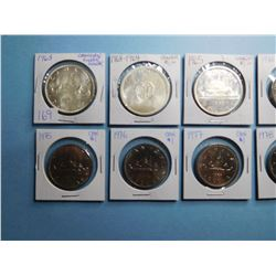 LOT OF 12 CANADA DOLLAR COINS 1963, 1964, 1965, 1970, 1973, 1974, 1975, 1976, 1977, 1978, 1979, 1980
