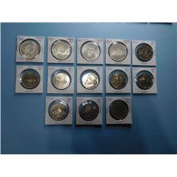 LOT OF 13 CANADA DOLLAR COINS 1961, 1963, 1964, 1965, 1970, 1973, 1974, 1975, 1976, 1977, 1978, 1979