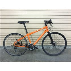 ORANGE NORCO INDIE 2 HYBRID ROAD BIKE WITH FRONT AND REAR HYDRAULIC DISK BRAKES, MISSING REAR DISK