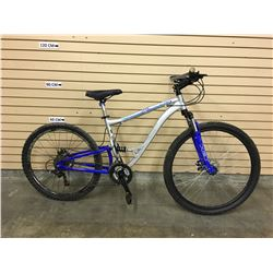 GREY AND BLUE CCM ALPHA FULL SUSPENSION MOUNTAIN BIKE WITH DISK BRAKES, FRONT BRAKE SYSTEM MISSING