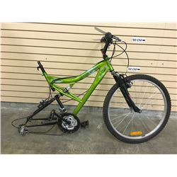 GREEN SUPERCYCLE ROGUE FRONT SUSPENSION MOUNTAIN BIKE, MISSING REAR WHEEL
