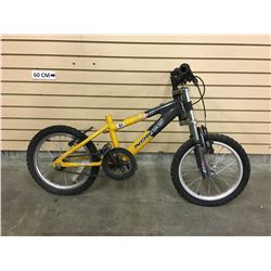 YELLOW AND GREY NORCO ZX-50 KID'S FRONT SUSPENSION MOUNTAIN BIKE
