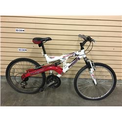 WHITE AND RED INFINITY GRAVITY KID'S FULL SUSPENSION MOUNTAIN BIKE