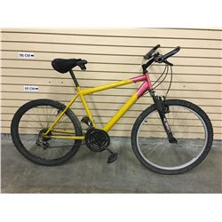 YELLOW AND RED NO NAME FRONT SUSPENSION MOUNTAIN BIKE