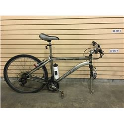 GREY INFINITY PREMIER FRONT SUSPENSION MOUNTAIN BIKE, MISSING FRONT WHEEL