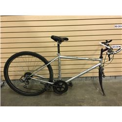 GREY NO NAME MOUNTAIN BIKE, MISSING FRONT WHEEL