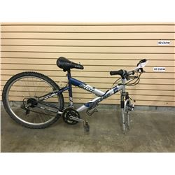GREY AND BLUE DUNLOP FS767 FRONT SUSPENSION MOUNTAIN BIKE, MISSING FRONT WHEEL