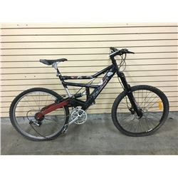 BLACK RALEIGH FULL SUSPENSION MOUNTAIN BIKE WITH FRONT DISK BRAKE