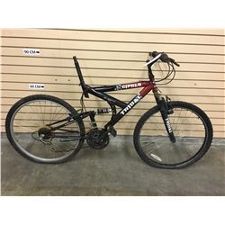 BLACK AND RED TRIBAL CIPHER FULL SUSPENSION MOUNTAIN BIKE