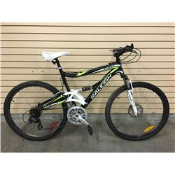 BLACK AND WHITE RALEIGH TORA FULL SUSPENSION MOUNTAIN BIKE