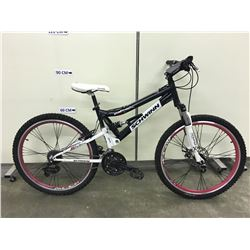 BLACK SCHWINN GRAFT FULL SUSPENSION MOUNTAIN BIKE WITH FRONT DISK BRAKE