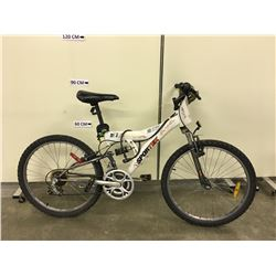 WHITE SPORTEK 18 SPEED FULL SUSPENSION KIDS MOUNTAIN BIKE