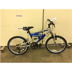 BLUE AND GREY CCM SHOCK WAVE KIDS FULL SUSPENSION MOUNTAIN BIKE