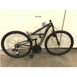 GREY HUFFY ROCK CREEK FULL SUSPENSION MOUNTAIN BIKE, MISSING HANDLE BARS