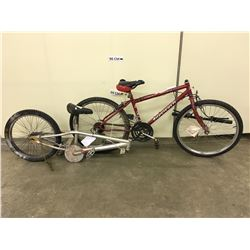 TWO INCOMPLETE BIKES: GREY BMX BIKE, AND RED SUPERCYCLE MOUNTAIN BIKE