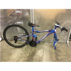 BLUE AND RED MONGOOSE FULL SUSPENSION KIDS MOUNTAIN BIKE, MISSING FRONT WHEEL